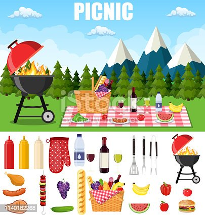 summer picnic in the mountains.