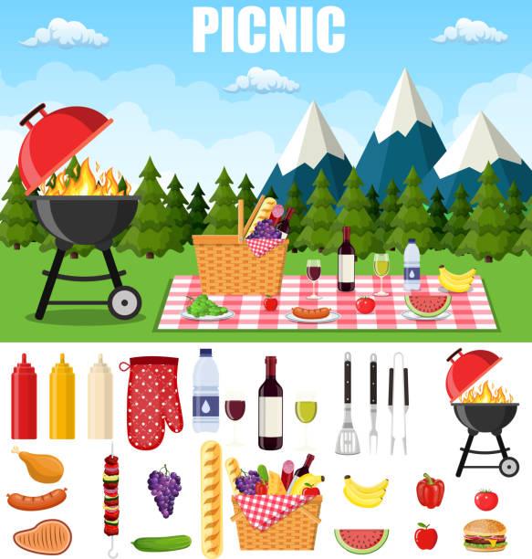 bildbanksillustrationer, clip art samt tecknat material och ikoner med sommar picknick i fjällen. - vin sommar fest