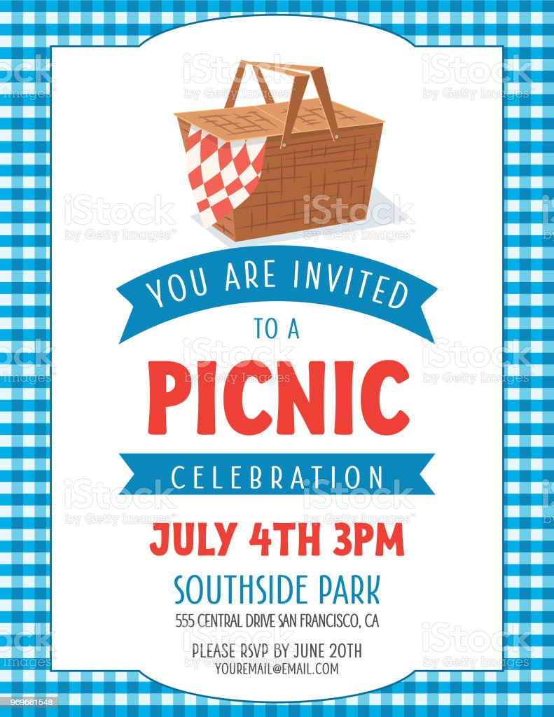 Summer Picnic Invitation Template Stock Vector Art More Images Of