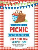 Summer Picnic Invitation Template with lots of room for text.