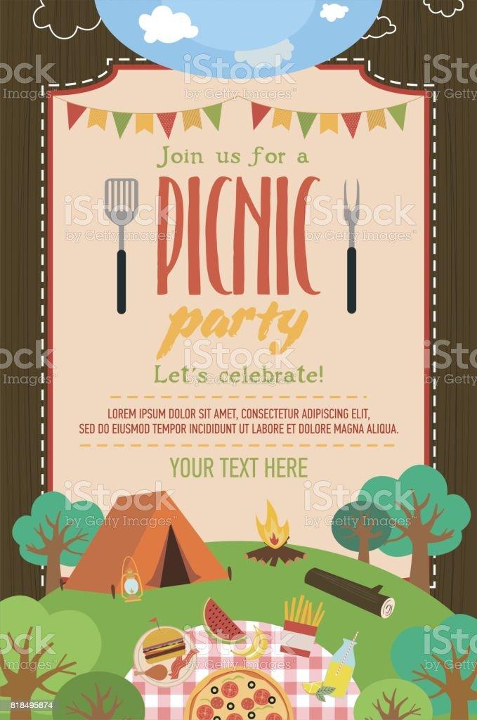 Summer picnic party invitation card vector art illustration