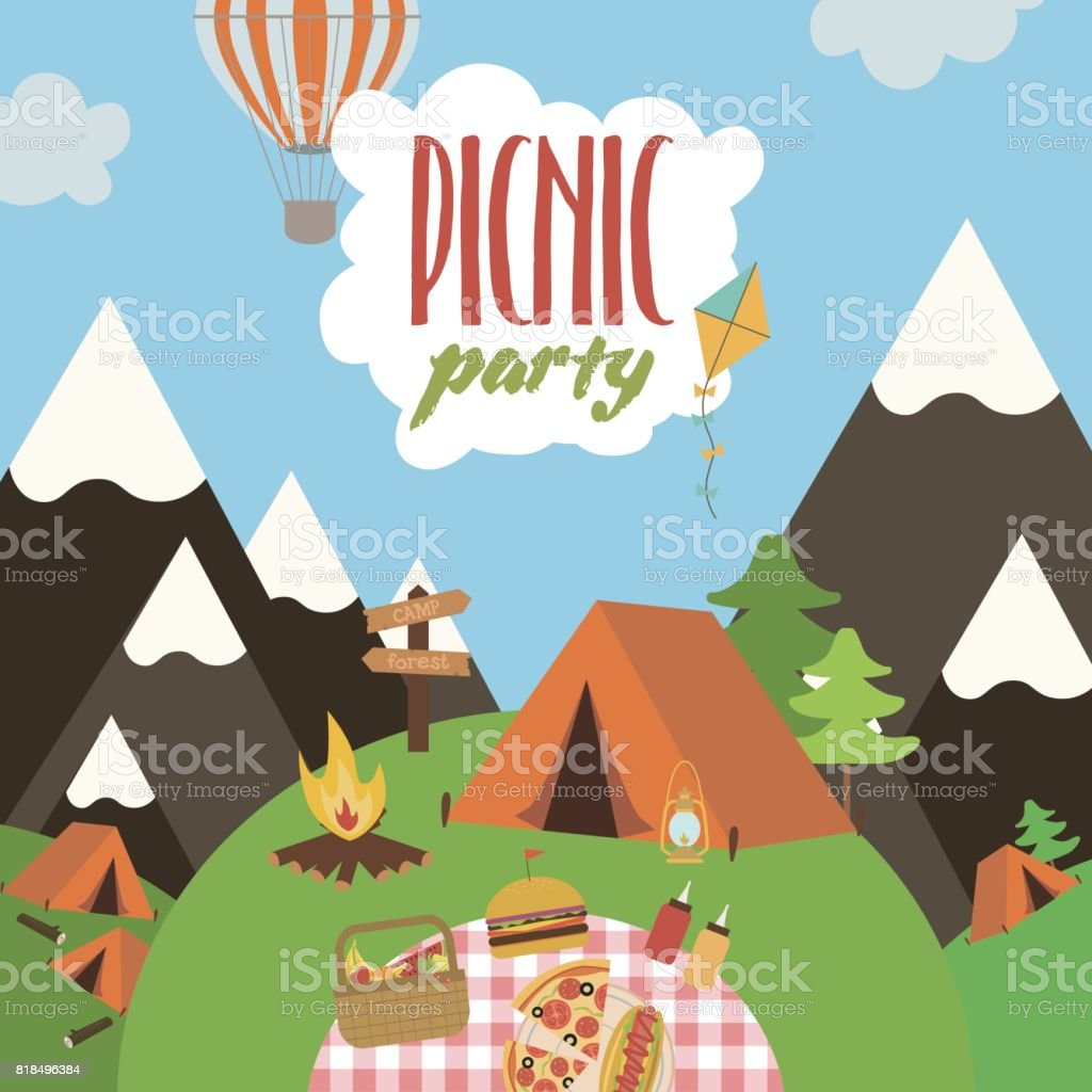 summer picnic party invitation card stock vector art more images