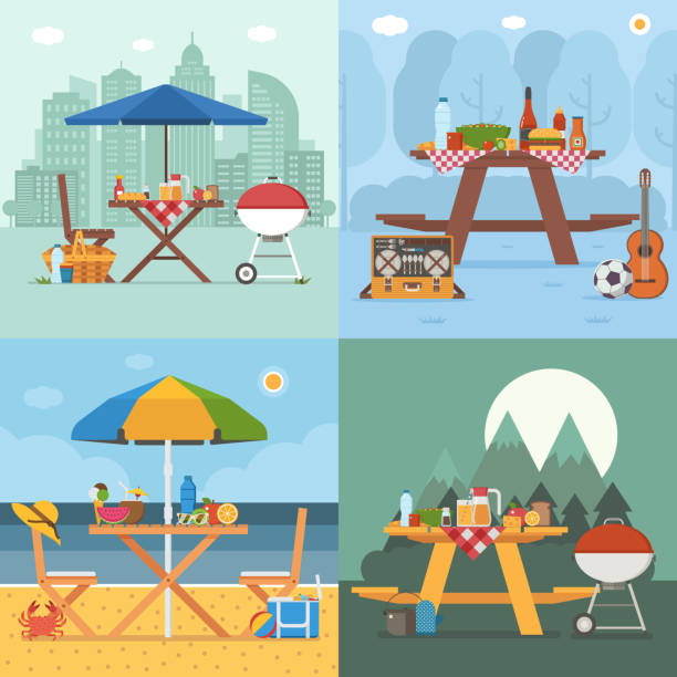 Summer Picnic Tables Collection Picnic table and outing appliances on different backgrounds. Barbecue party concepts with bbq on public park, sea beach, mountain and city. Summer picnic scenes in flat design. picnic stock illustrations