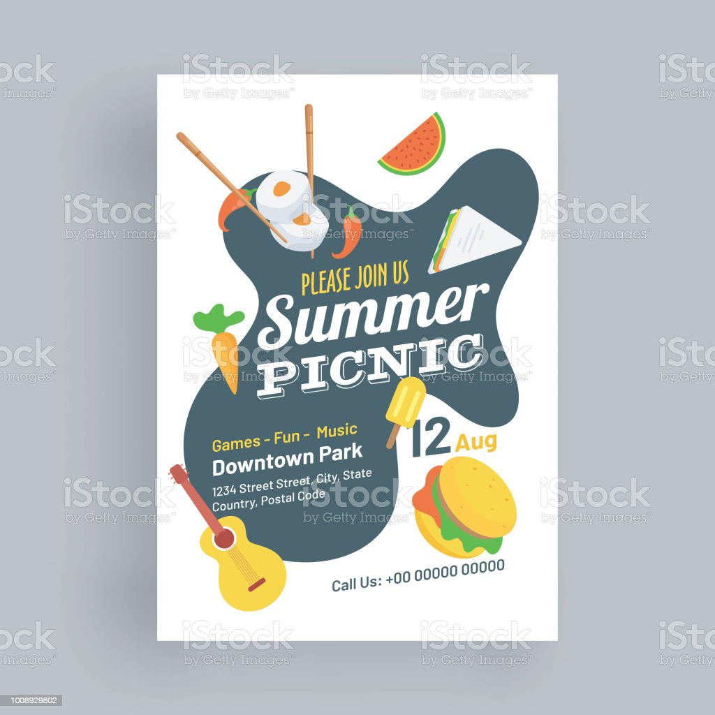 summer picnic template or flyer design with delicious food element