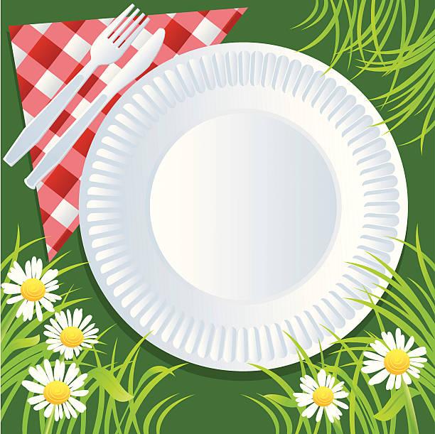 sommer-picknick - plastikteller stock-grafiken, -clipart, -cartoons und -symbole