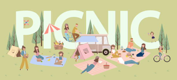 Summer picnic with active family vacation with kids, couples, families, relaxing on nature, ride bicycles and skateboard. Summer picnic with active family vacation with kids, couples, families, relaxing on nature, ride bicycles and skateboard. Editable vector illustration picnic stock illustrations