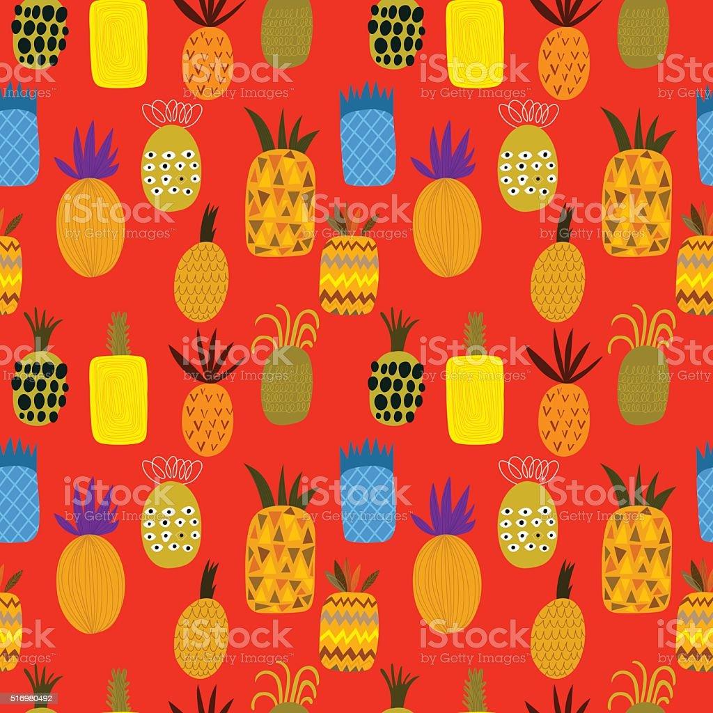 夏のパイナップルのフルーツのベクトルイラスト背景パターン - いたずら