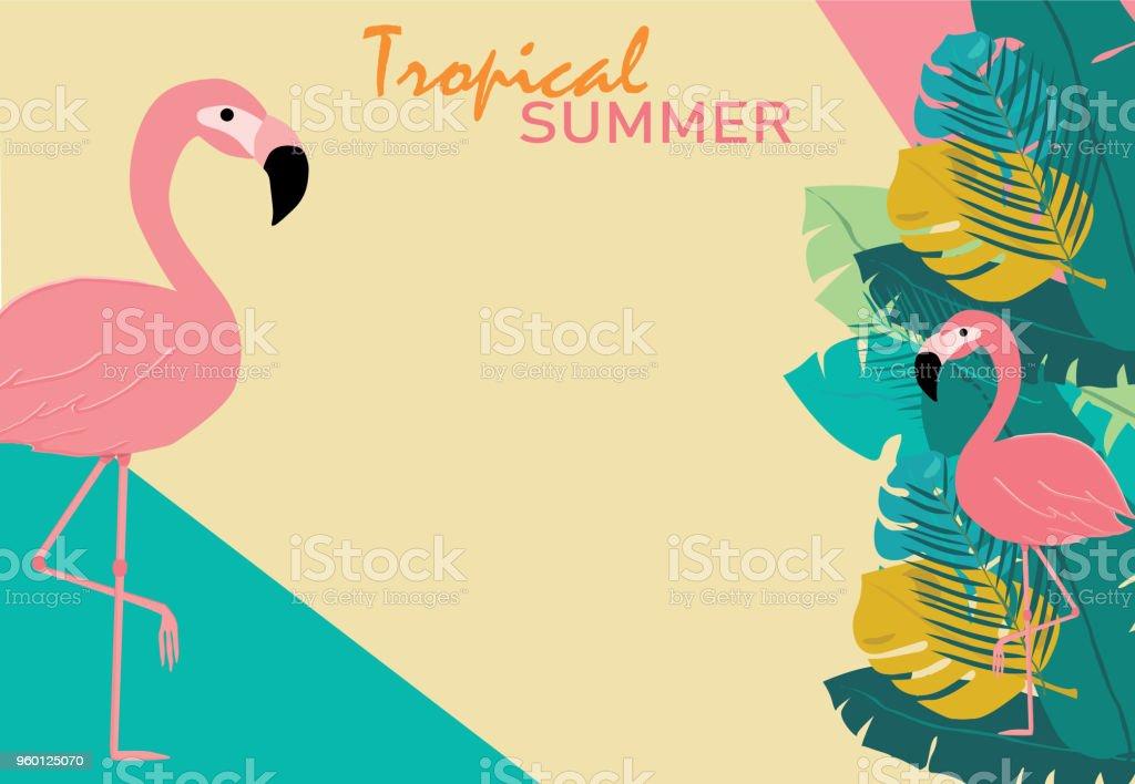 Ilustración de Verano Rosa Pastel Flamencos Y Hojas Tópicos En árbol ...