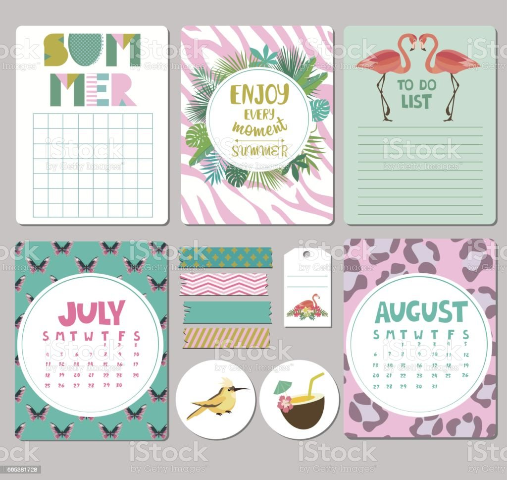 summer planner vector art illustration