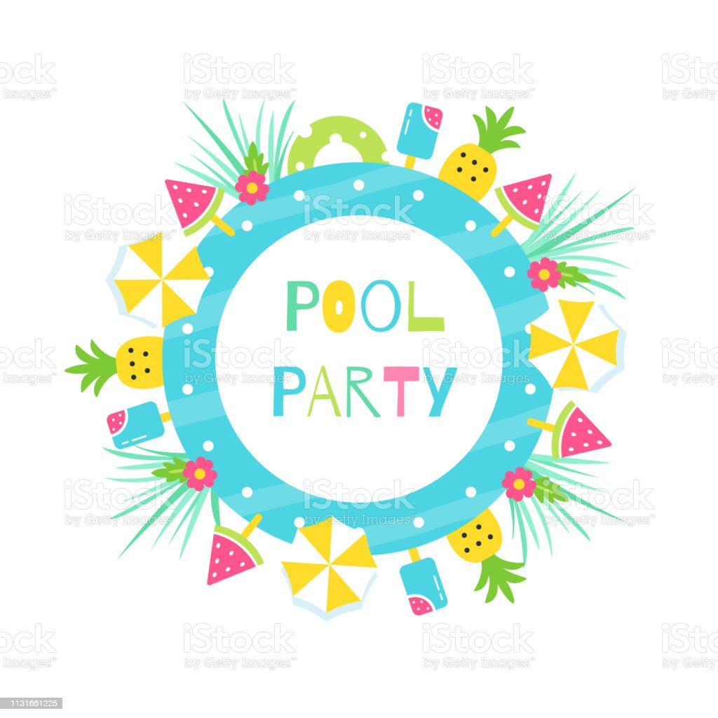 Summer Pool Or Beach Tropical Theme Party Vector Poster Or