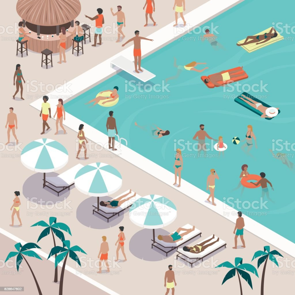 Summer pool party at the luxury resort vector art illustration