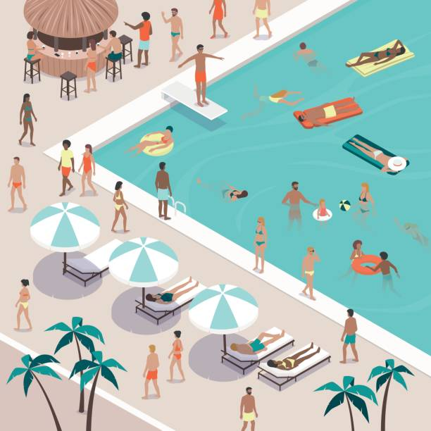 Summer pool party at the luxury resort Summer pool party and people gathering, they are swimming, sunbathing, having drinks at the bar and relaxing at the resort, vacations and leisure concept pool party stock illustrations