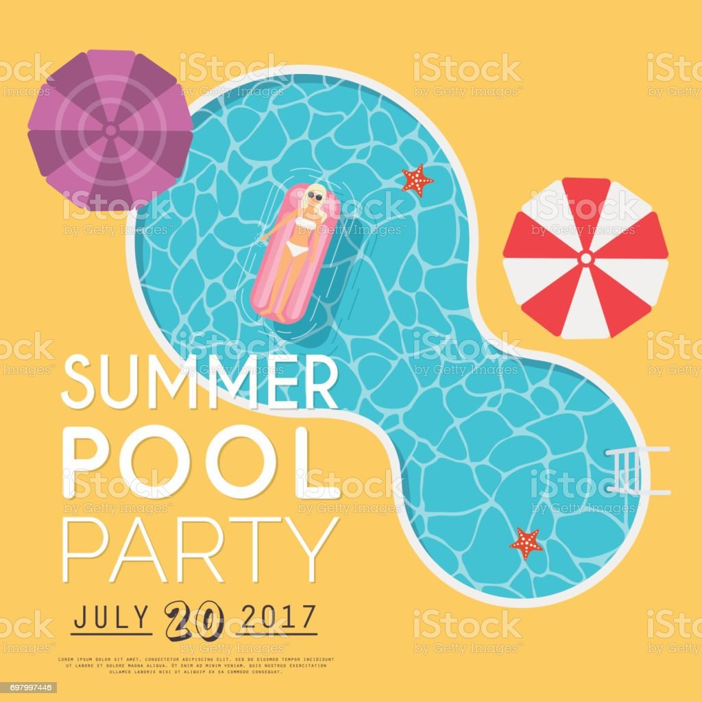 Summer Pool Party Invitation Flyer Or Banner Template Flat Design ...