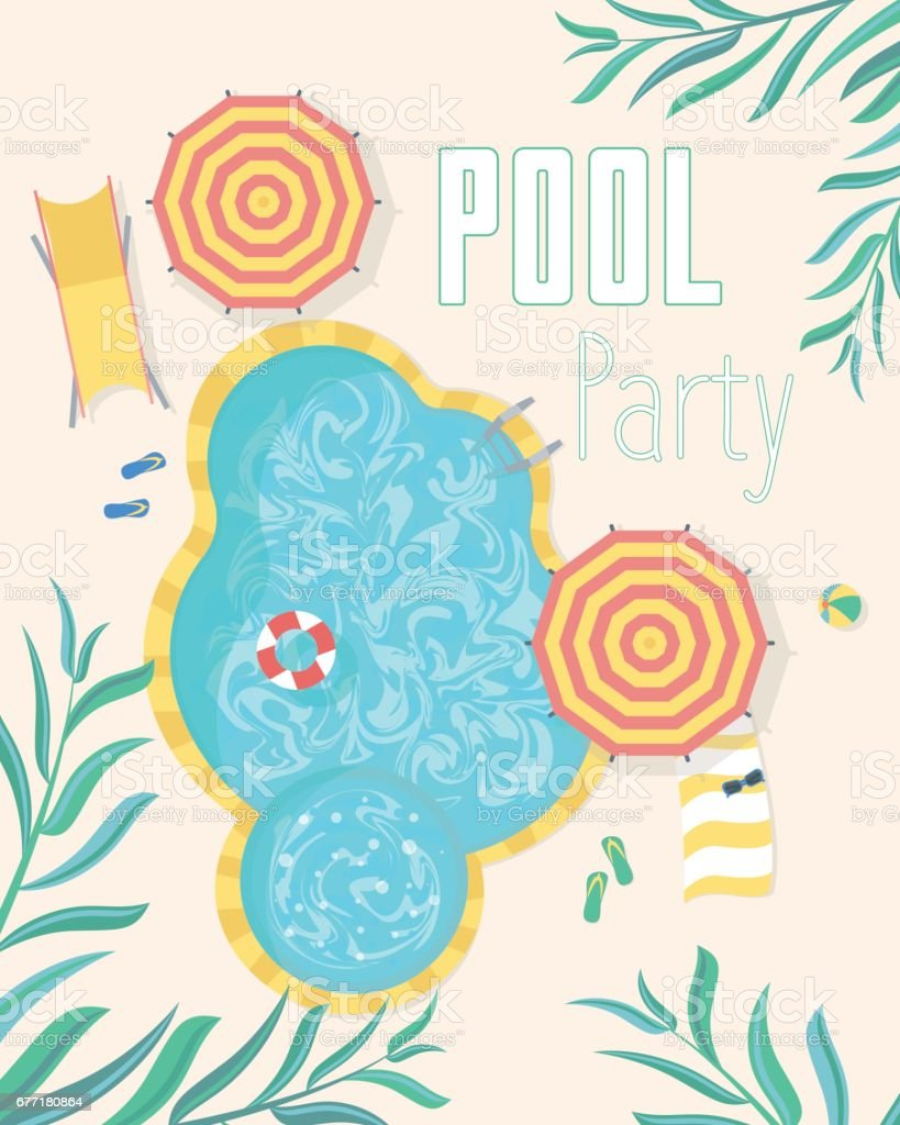 Summer Pool Party Invitation Posters Card Vector Stock