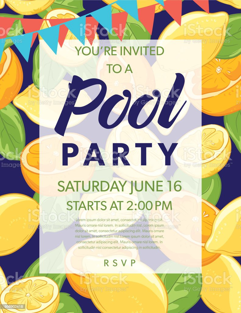 summer pool party invitation template with lemons and oranges stock