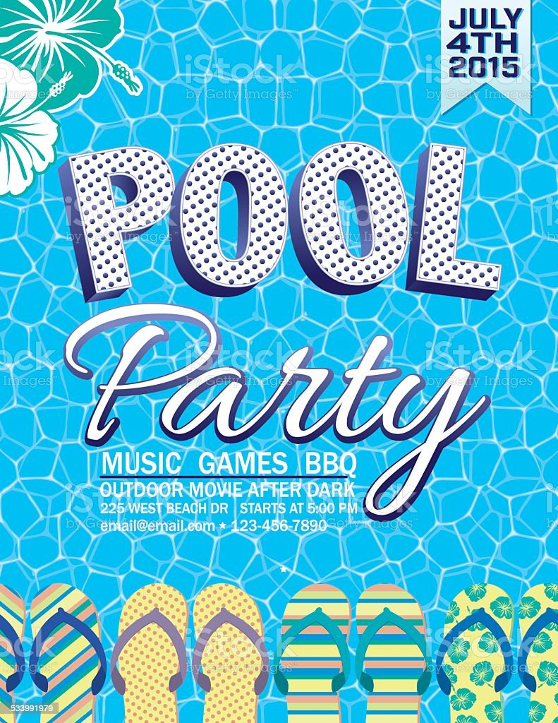 Summer Pool Party Invitation With Water And Flip Flops Stock Vector ...