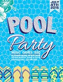 Summer Pool Party Invitation With Water And Flip Flops