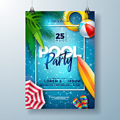 Summer pool party poster design template with palm leaves, water, beach ball and float on blue ocean landscape background. Vector holiday illustration for banner, flyer, invitation, poster