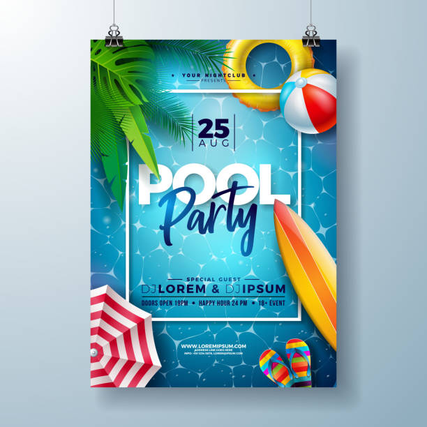 summer pool party poster design template with palm leaves, water, beach ball and float on blue ocean landscape background. vector holiday illustration for banner, flyer, invitation, poster. - summer background stock illustrations