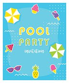 Summer Pool Party Poster or Invitation Card.