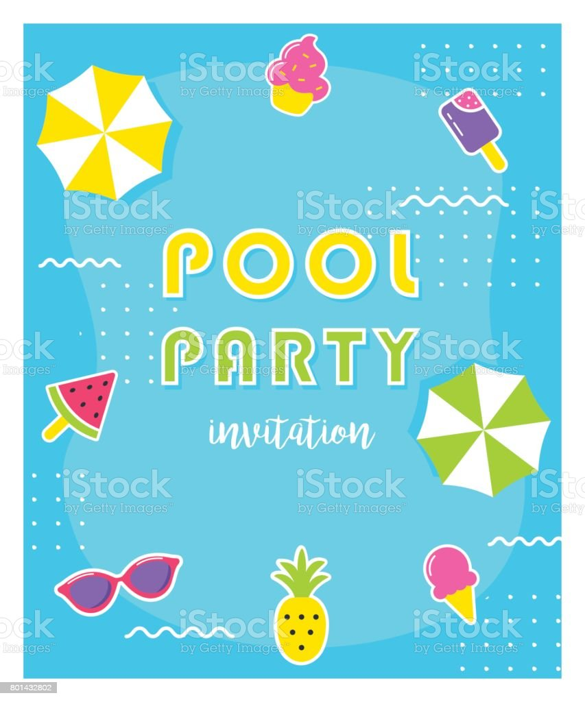Summer Pool Party Poster or Invitation Card. vector art illustration