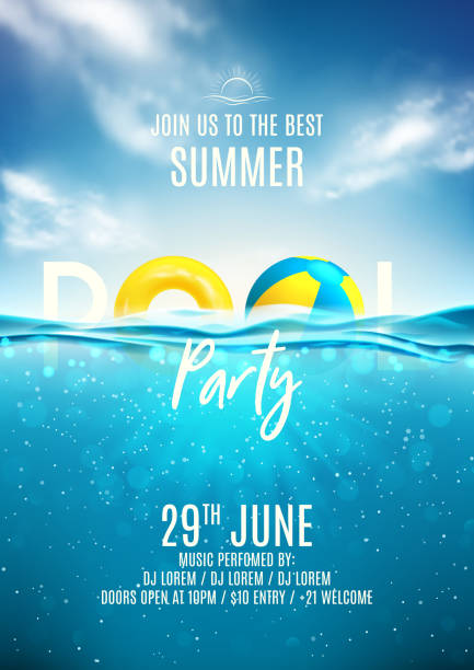 summer pool party poster template - summer background stock illustrations