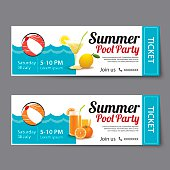 summer pool party ticket template