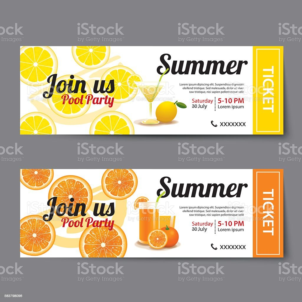 summer pool party ticket template イラストレーションのベクター