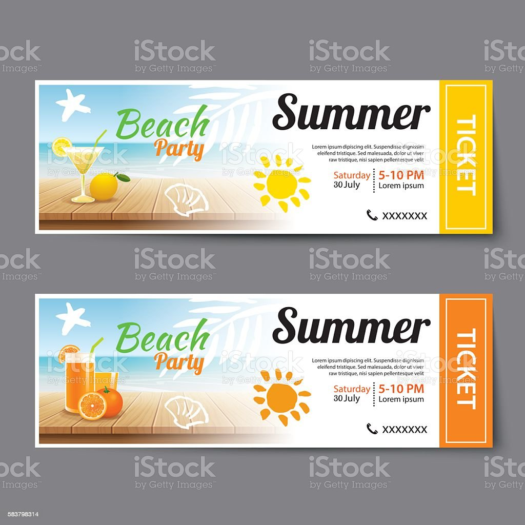 summer pool party ticket template のイラスト素材 583798314 istock