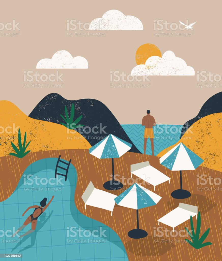 Summer pool party vacation illustration. People relaxing near the pool EPS 10 Summer pool party vacation illustration. People relaxing near the pool Adventure stock vector