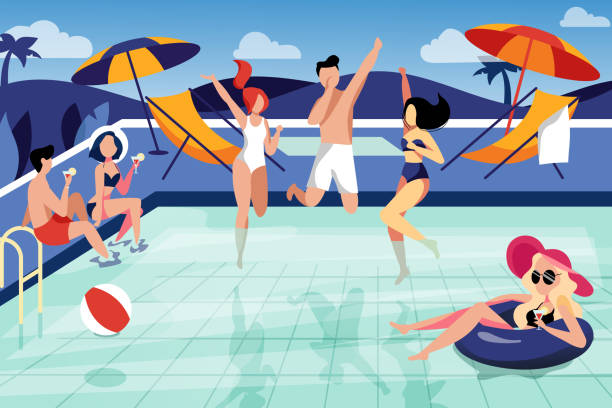 Summer pool party, vector flat illustration. Happy young friends have a vacation by the swimming pool Summer pool party, vector flat illustration. Happy young friends have a vacation by the swimming pool. pool party stock illustrations
