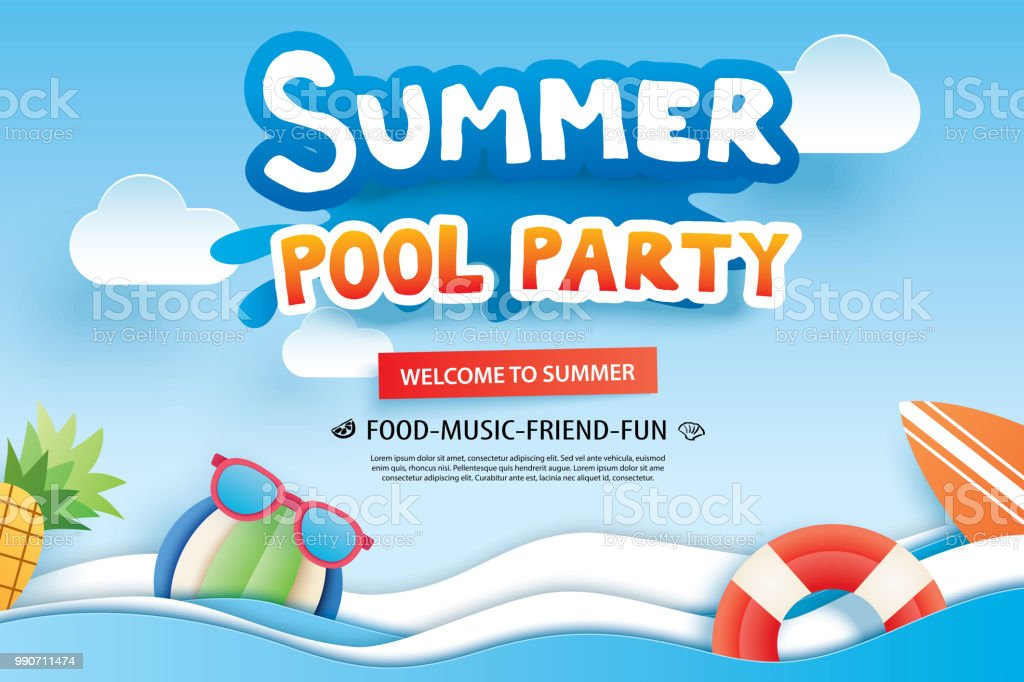 Summer Pool Party With Paper Cut Symbol And Icon For