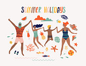 EPS 10 summer illustration with happy family. Tropical beach. Typographic vector illustration.