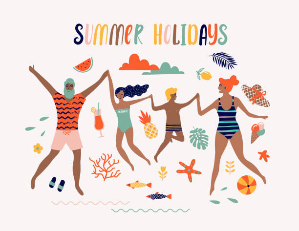 ilustraciones, imágenes clip art, dibujos animados e iconos de stock de ilustración de arte pop de verano con la familia feliz. playa tropical. ilustración de vector tipográfico. - vacaciones familiares