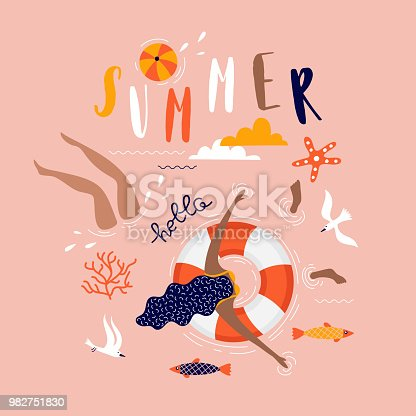 EPS 10 summer pop art illustration with swimmers. Tropical beach. Typographic vector illustration.