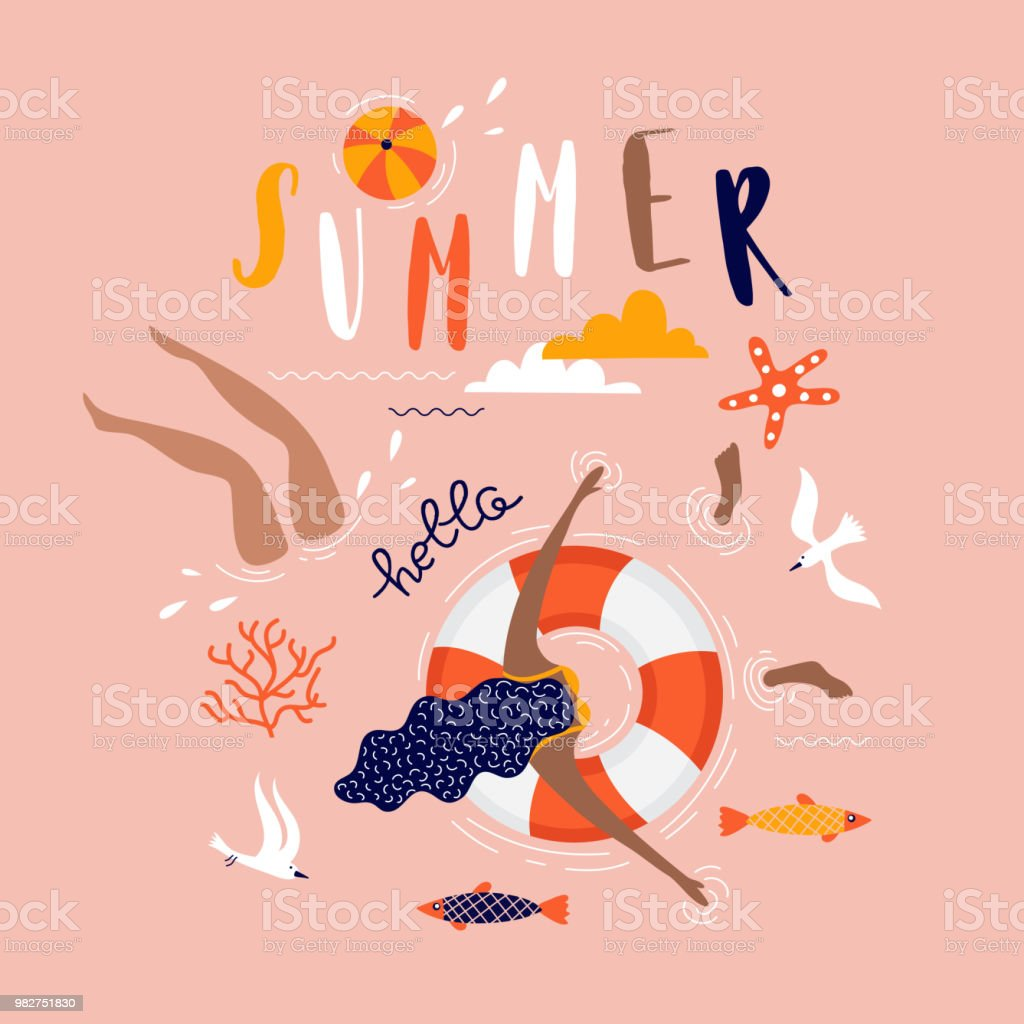Summer pop art illustration with swimmers. Tropical beach. Typographic vector illustration. vector art illustration
