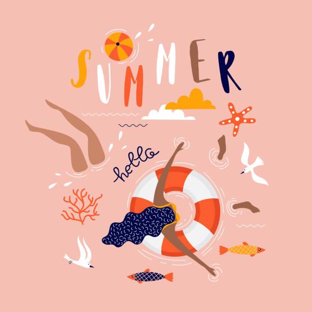 ilustrações de stock, clip art, desenhos animados e ícones de summer pop art illustration with swimmers. tropical beach. typographic vector illustration. - jump pool, swimmer