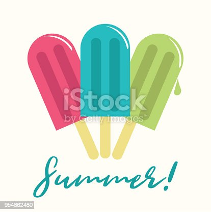 Colorful Popsicle vector composition with copy space.