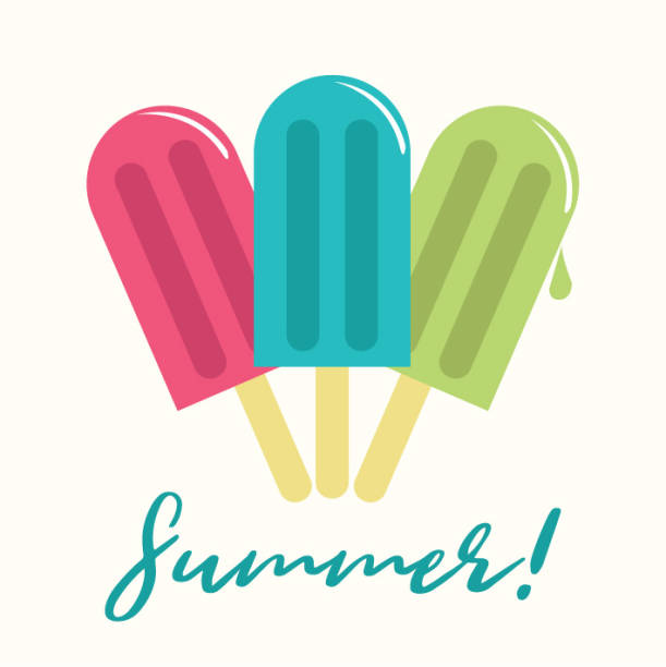 stockillustraties, clipart, cartoons en iconen met zomer popsicle samenstelling-kopie ruimte - ijslollie bevroren zoetigheid