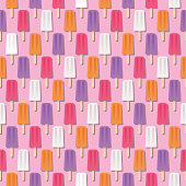 Summer Popsicle Seamless Pattern - illustration