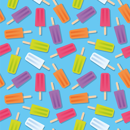 Summer Popsicle Seamless Pattern.