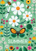 Summer poster design with colorful wild meadow flowers, and flying insects over a green background, colored vector illustration