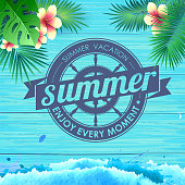 Summer poster on blue wooden background. Lettering poster summer vacation, enjoy enery moment