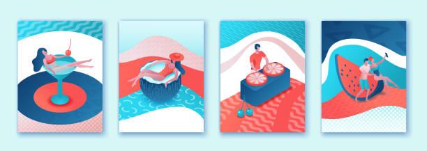 Sommerplakat-Set, Pool-Party-Sammlung, isometrische 3D-Illustration trendigen Pop-Stil mit Cartoon-Menschen im Badeanzug, Cocktail trinken, entspannen, Freizeit-Spa-Konzept, DJ-Musik, Event-Hintergrund – Vektorgrafik