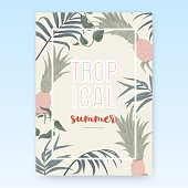 Summer poster template design, tropical green leaves on light brown background, pastel vintage style
