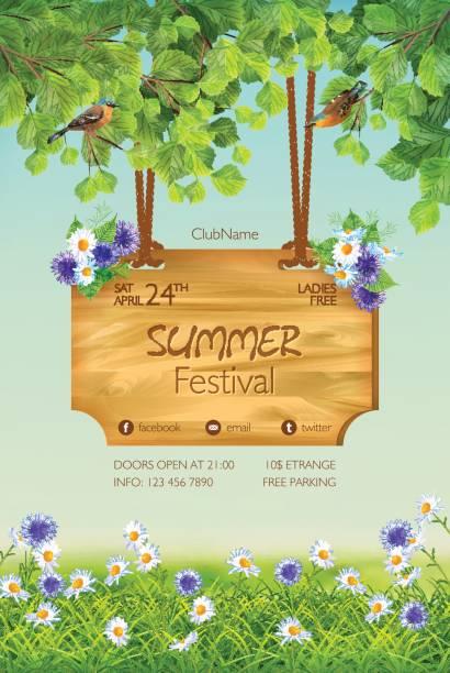 ilustraciones, imágenes clip art, dibujos animados e iconos de stock de summer poster template - fiesta en el jardín