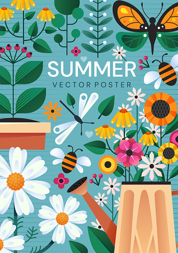 Summer poster design with colorful garden flowers, a watering can and insects over a blue background, colored vector illustration