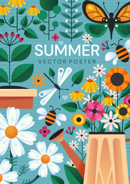 Summer poster with garden flowers and insects Summer poster design with colorful garden flowers, a watering can and insects over a blue background, colored vector illustration butterfly insect stock illustrations
