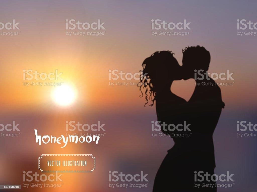 夏のポスターキスカップルシルエットにブルーの夕日 のイラスト素材
