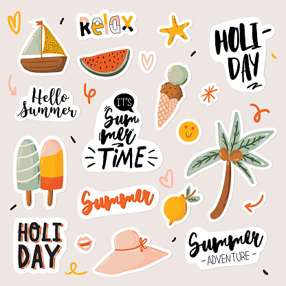 Summer print with cute holiday elements and lettering isolated on white background.